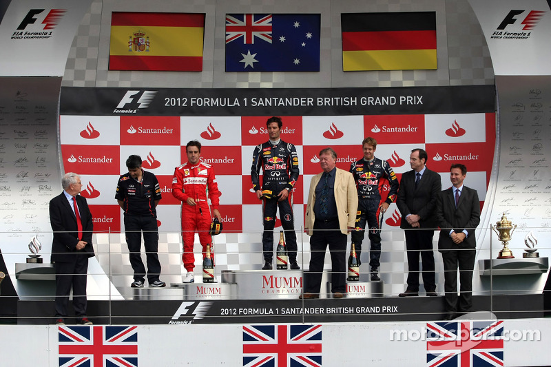 Fernando Alonso, Scuderia Ferrari, Mark Webber, Red Bull Racing and Sebastian Vettel, Red Bull Racin