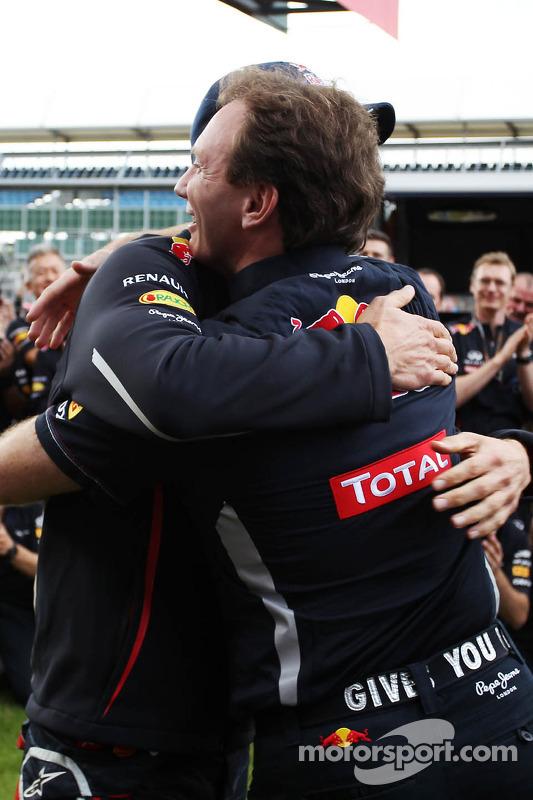 race winner Mark Webber, Red Bull Racing celebrates with Christian Horner, Red Bull Racing Team Principal