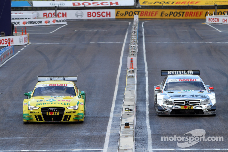 Sunday Quarter Finals Jamie Green, Team HWA AMG Mercedes, AMG Mercedes C-Coupe against Mike Rockenfeller, Audi Sport Team Phoenix Racing Audi A5 DTM