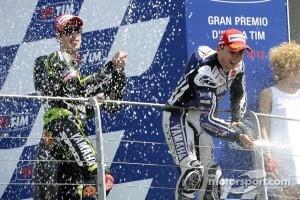 Podium: race winner Jorge Lorenzo, Yamaha Factory Racing, third place Andrea Dovizioso, Yamaha Tech 4