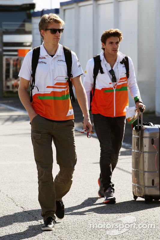 Nico Hulkenberg, Sahara Force India F1 and Jules Bianchi, Sahara Force India F1 Team Third Driver arrive at the circuit