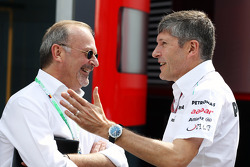 Didier Coton, Driver Manager of Lewis Hamilton, McLaren with Nick Fry, Mercedes AMG F1 Chief Executive Officer