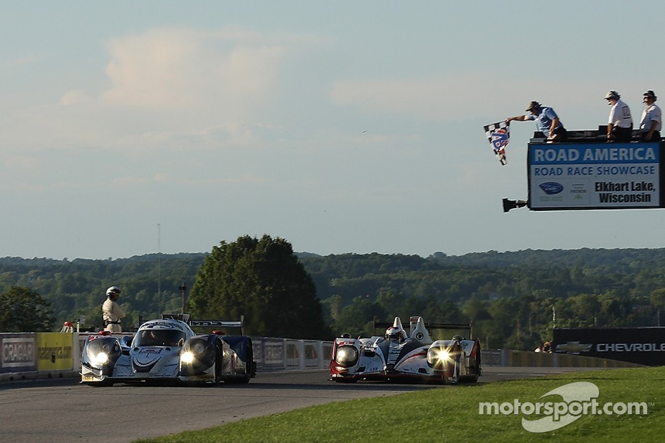 #16 Dyson Racing Team Inc. Lola B12/60 Mazda: Chris Dyson, Guy Smith narrowly beats #6 Muscle Milk Pickett Racing HPD ARX-03a Honda: Lucas Luhr, Klaus Graf to the line to win