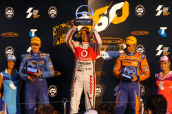 Podium: race winner Craig Lowndes, second place Mark Winterbottom, third place Will Davison