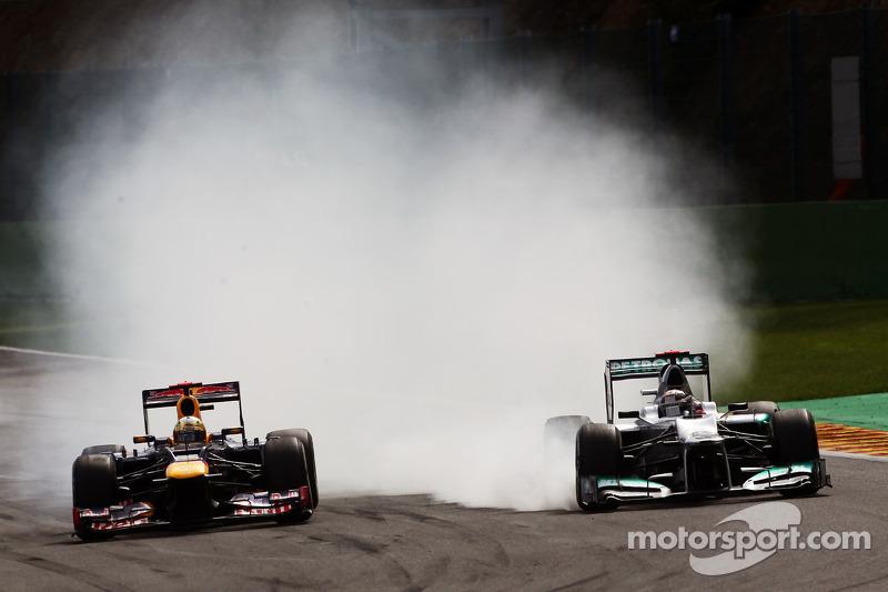 Sebastian Vettel, Red Bull Racing en Michael Schumacher, Mercedes AMG F1 duel