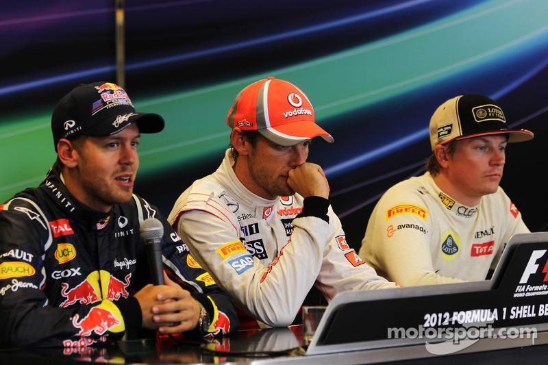 Post race FIA Press Conference, Red Bull Racing, second; Jenson Button, McLaren, race winner; Kimi R