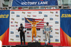 Race winner Ryan Hunter-Reay, second place Ryan Briscoe and third place Simon Pagenaud