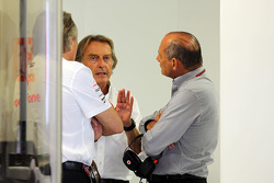 Manseur Ojeh, McLaren shareholder with Ron Dennis, McLaren Executive Chairman and Luca di Montezemolo, Ferrari President in the McLaren pits