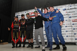 Podium: winners Ken Block and Alex Gelsomino, second place Antoine L'Estage and Nathalie Richard, third place Leo Urlichich and Carl Williamson