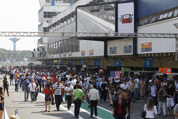 The pitlane during pre-race