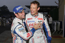 Race winners Alexander Wurz and Nicolas Lapierre celebrate