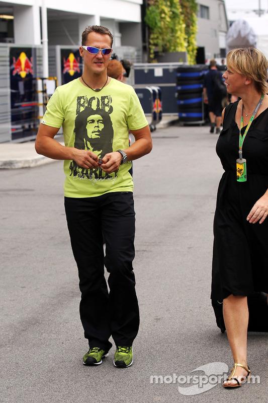 Michael Schumacher, Mercedes AMG F1 wearing a Bob Marley T-Shirt