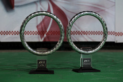 Winners trophies for Sebastian Vettel, and Red Bull Racing