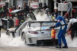 Interior fire - #90 Preci-Spark Mercedes-Benz SLS AMG GT3: David Jones, Godfrey Jones