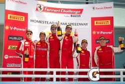 Podium celebration: class and overall winner #24 Ferrari of Beverly Hills 458TP: Carlos Kauffmann, second place #8 Ferrari of Ft Lauderdale 458TP, third place #68 Ferrari of San Francisco 458CS: Mike Hedlund, 458CS class winner #56 Ferrari of Ft Lauderdal