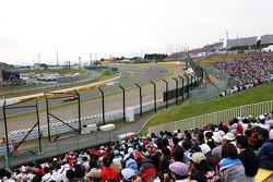 Fans watch Felipe Massa, Ferrari and Fernando Alonso, Ferrari