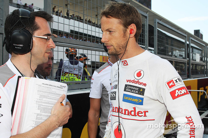 Jenson Button, McLaren op de grid