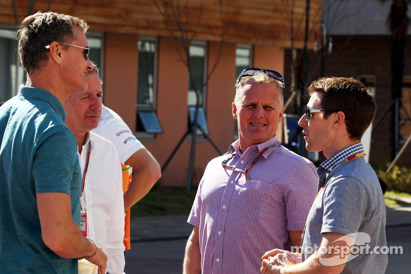 David Coulthard, Red Bull Racing and Scuderia Toro Advisor / BBC Television Commentator with Martin Brundle, Sky Sports Commentator; Johnny Herbert, Sky Sports Commentator; and Anthony Davidson, Sky Sports Commentator