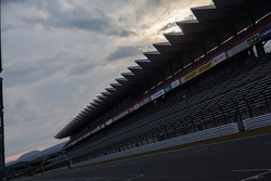 Sun getting low at Fuji Speedway over the grandstands