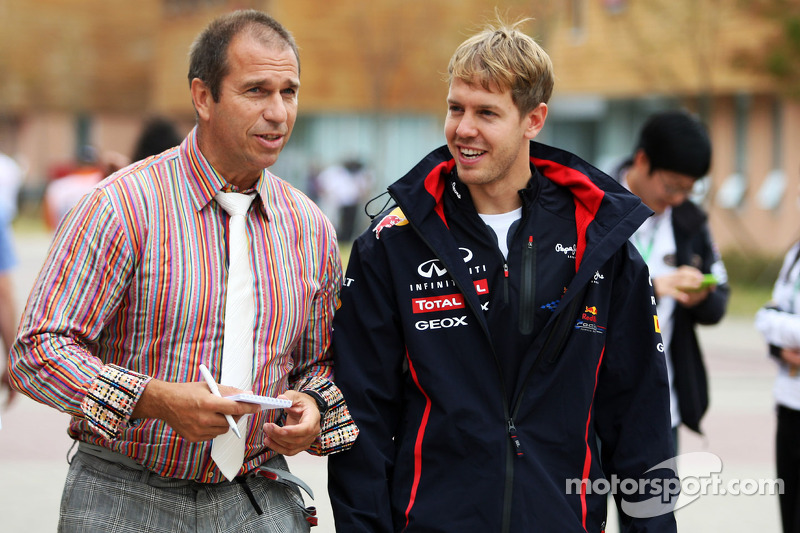 Sebastian Vettel, Red Bull Racing with Kai Ebel, RTL TV Presenter