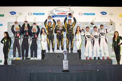 P1 podium: class and overall winners Andrea Belicchi, Neel Jani, Nicolas Prost, second place Chris Dyson, Guy Smith, Steven Kane, third place Lucas Luhr, Klaus Graf, Romain Dumas