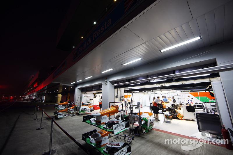 Sahara Force India F1 pit garages