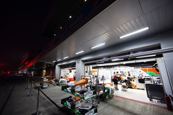 Sahara Force India F1 pit garages at night