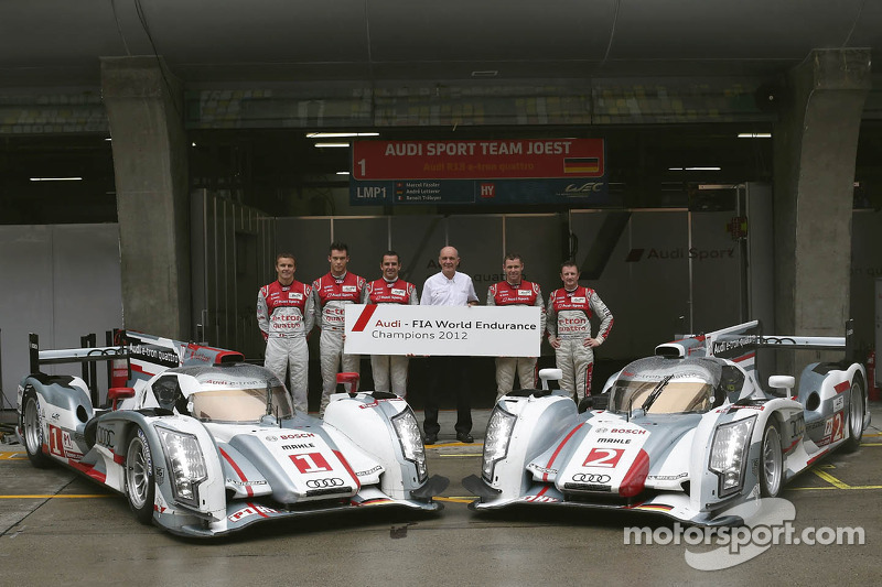 2012 champions Marcel Fässler, Benoit Tréluyer, Andre Lotterer and Allan McNish, Tom Kristensen team photo