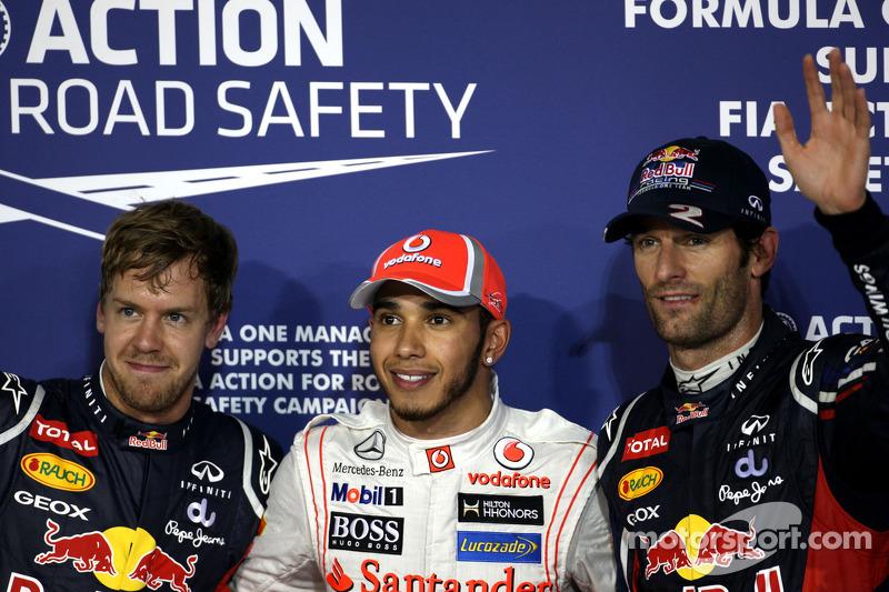 Ganador de la pole position Lewis Hamilton, McLaren Mercedes, segundo Mark Webber, Red Bull Racing,