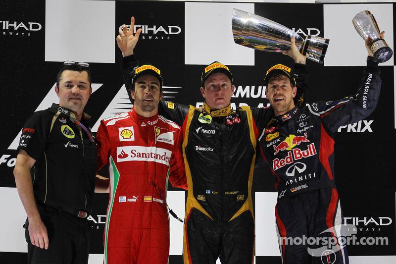 Podium: race winner Kimi Raikkonen, Lotus F1 Team, second place Fernando Alonso, Scuderia Ferrari, third place Sebastian Vettel, Red Bull Racing, Eric Boullier, team manager Lotus F1 Team