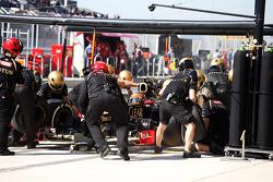 Romain Grosjean, Lotus F1 makes a pit stop