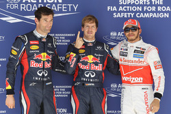 pole position for Sebastian Vettel, Red Bull Racing, 2nd place for Mark Webber, Red Bull Racing and 3rd for Lewis Hamilton, McLaren Mercedes