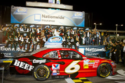 Championship victory lane: 2012 NASCAR Nationwide Series champion Ricky Stenhouse Jr., Roush Fenway Ford celebrates