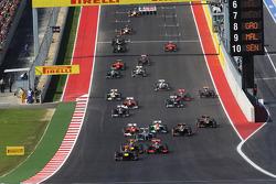 Sebastian Vettel, Red Bull Racing RB8 leads at the start of the race
