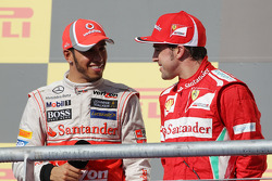 race winner Lewis Hamilton, McLaren with Fernando Alonso, Ferrari on the podium