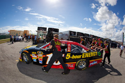 Car of Clint Bowyer, Michael Waltrip Racing Toyota pushed to technical inspection