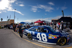 Car of Jimmie Johnson, Hendrick Motorsports Chevrolet at technical inspection