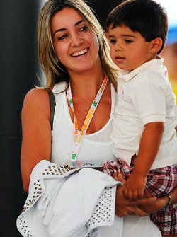 Rafaela Bassi, wife of Felipe Massa, Ferrari, with son Felipinho