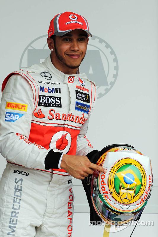 Lewis Hamilton, McLaren celebrates his pole position in parc ferme