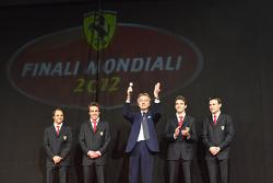 Luca di Montezemolo with Jules Bianchi, Davide Rigon, Felipe Massa and Fernando Alonso at the Ferrari Gala