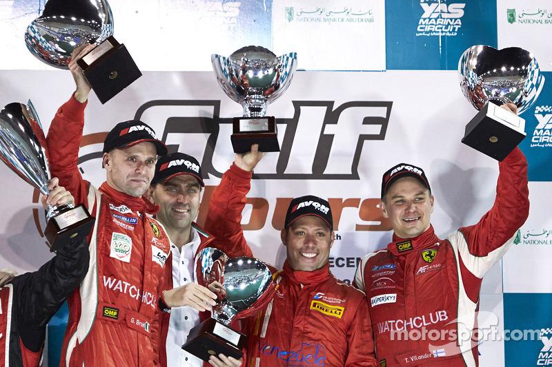 Podium: race winners Gaetano Ardagna, Gianmaria Bruni, Toni Vilander with Amato Ferrari