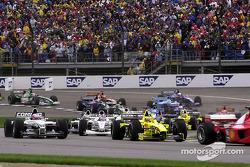 Action beim Start zum GP USA 2000 in Indianapolis