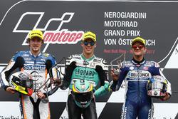Podium: tweede plaats Philipp Ottl, Schedl GP Racing, Racewinnaar Joan Mir, Leopard Racing, derde plaats Jorge Martin, Del Conca Gresini Racing Moto3