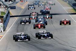 Damon Hill, Williams FW17B Renault and David Coulthard, Williams FW17B Renault are leading at the start