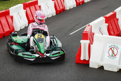 Esteban Ocon, Force India, races a kart