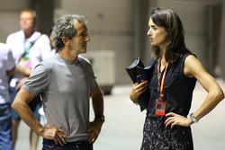 Alain Prost, consejero especial de Renault Sport F1 Team y Margot Laffite de Canal+
