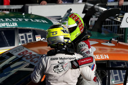 Race winner Jamie Green, Audi Sport Team Rosberg, Audi RS 5 DTM and Timo Glock, BMW Team RMG, BMW M4 DTM
