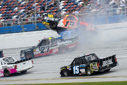 Cody Coughlin, ThorSport Racing Toyota, crashes with, Chris Fontaine, Glenden Enterprises Toyota Tundra, Ben Rhodes, ThorSport Racing Toyota