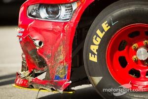 Wrecked car of Joey Logano, Penske Racing Ford