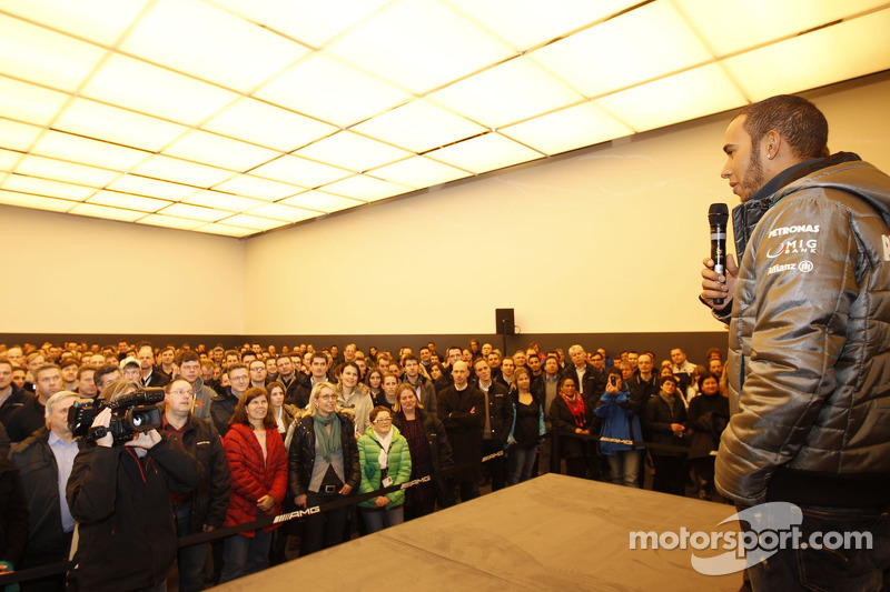 Lewis Hamilton, Mercedes GP visits the Mercedes headquarters